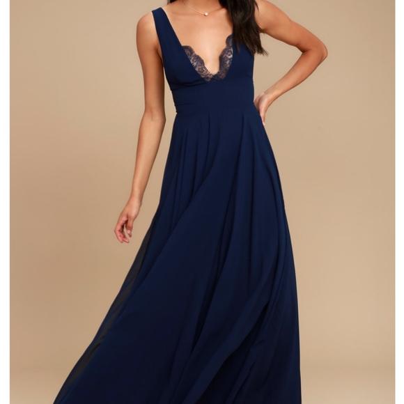 Lulus Dresses | True Bliss Navy Blue Maxi Dress | Poshmark